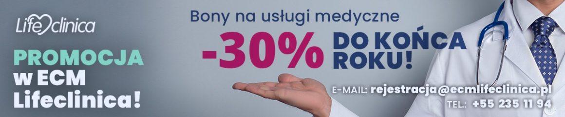 PROMOCJA w ECM Lifeclinica! Bony na usługi medyczne -30% do końca roku!